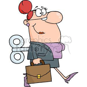 3256-Businesswoman-With-Wind-up-Key-In-His-Back clipart. Commercial use image # 380756