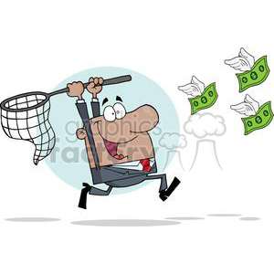 cartoon vector occassions funny business work working people corporate corporations wings flying money cash dollars chasing catching