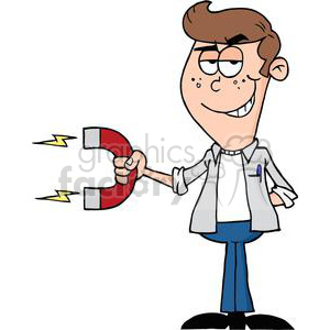 Teenager holding a large magnet clipart. Royalty-free image # 380771