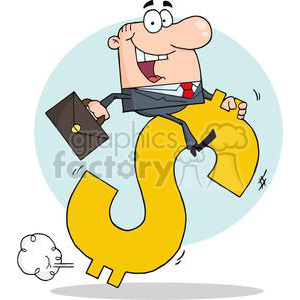 3284-Successful-Businessman-Riding-On-A-Dollar-Symbol clipart. Royalty-free image # 380776