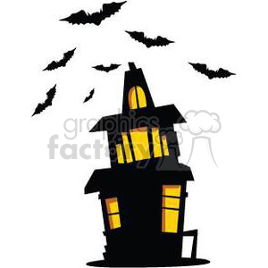 cartoon vector illustrations Halloween haunted house trick+or+treat night scary bats