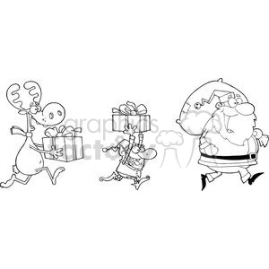 3336-Happy-Santa-Claus,Elf-and-Reindeer-Runs-With-Gifts clipart. Royalty-free image # 380817