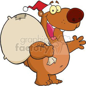 3418-Happy-Santa-Bear-Waving-A-Greeting clipart. Royalty-free image # 380832