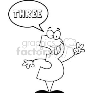 3448-Friendly-Number-1-Three-Guy-With-Speech-Bubble clipart. Commercial use image # 380847