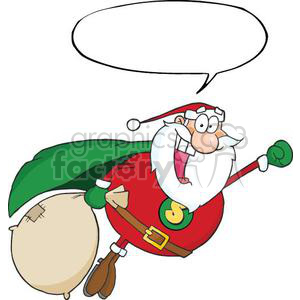 3409-African-American-Super-Santa-Claus-Fly-With-Speech-Bubble clipart. Royalty-free image # 380852