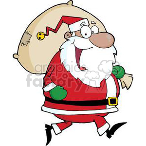 3328-Happy-African-American-Santa-Claus-Runs-With-Bag clipart. Royalty-free image # 380867