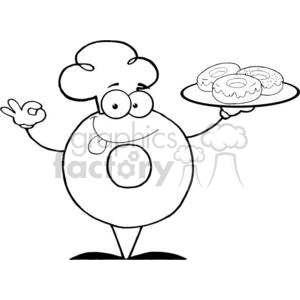 3481-Friendly-Donut-Chef-Cartoon-Character-Holding-A-Donuts clipart. Royalty-free image # 380872