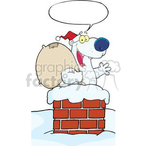 3441-Happy-Santa-Polar-Bear-Waving-A-Greeting-In-Chimney-With-Speech-Bubble clipart. Royalty-free image # 380897
