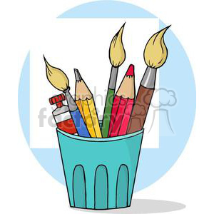 3391-Artist-Pot-With-Pencils-And-Paintbrushes clipart. Commercial use image # 380902