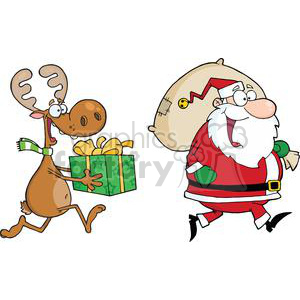cartoon reindeer running with Santa delivering gifts clipart. Royalty-free image # 380922