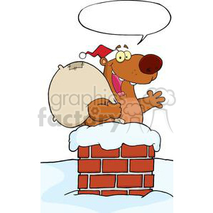 3429-Happy-Santa-Bear-Waving-A-Greeting-In-Chimney-With-Speech-Bubble clipart. Royalty-free image # 380937