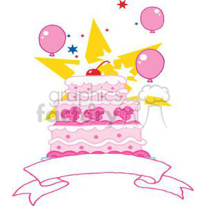 3493-Royalty-Free-RF-Clipart-Illustration-Pink-ThreeTiered-Wedding-Cake-With-Balloons,Stars-And-Baner clipart. Royalty-free image # 380942