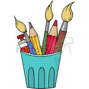 3390-Artist-Pot-With-Pencils-And-Paintbrushes clipart. Commercial use image # 380947