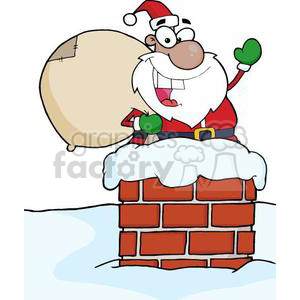 3402-African-American-Santa-Claus-In-Chimney clipart. Commercial use image # 380952