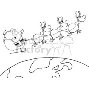 3341-Team-Of-Reindeer-And-Santa-In-His-Sleigh-Flying-Above-The-Globe clipart. Commercial use image # 380957