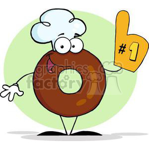3473-Friendly-Donut-Cartoon-Character-Number-One clipart. Royalty-free image # 380967