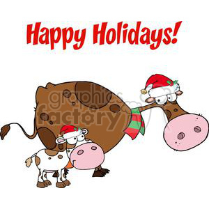 3438-Spotted-Calf-By-A-Mom-Dairy-Cow-With-Santas-Hats clipart. Royalty-free image # 380977