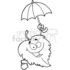 3384-Happy-Leaf-With-Umbrella clipart. Royalty-free image # 380982