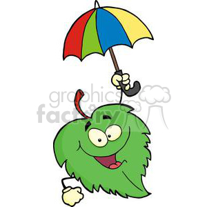 3387-Happy-Green-Leaf-With-Umbrella