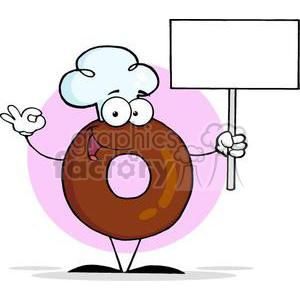 3470-Friendly-Donut-Cartoon-Character-Holding-A-Blank-Sign clipart. Royalty-free image # 380997