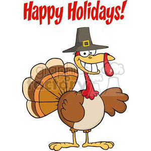 Happy Holidays Greeting With Turkey Cartoon Character clipart. Commercial use image # 381007