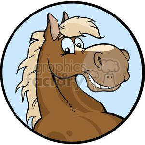Happy cartoon horse head clipart. Commercial use image # 381012