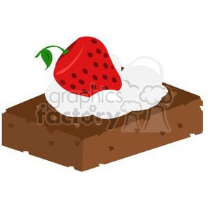 brownie with whip cream and strawberry clipart. Royalty-free icon # 381032