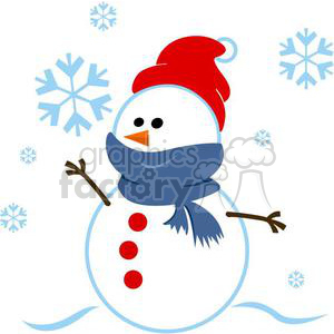 snowman wrapped in a blue scarf clipart. Royalty-free image # 381037