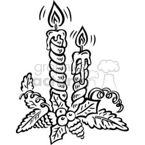 black and white Christmas candles clipart. Commercial use image # 381076