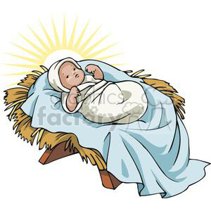 Baby Jesus in a Manger Glowing clipart. Commercial use image # 143670