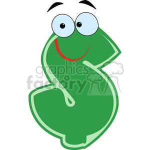 Green-Dollar-Cartoon-Character clipart. Royalty-free image # 381233