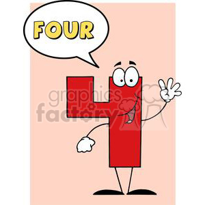 Funny-Number-Guy-Four-With-Speech-Bubble clipart. Royalty-free image # 381238