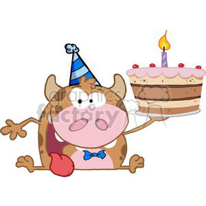 Happy-Calf-Cartoon-Character-Holds-Birthday-Cake clipart. Royalty-free image # 381243