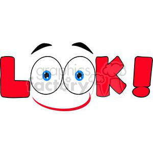 Smile-Red-Cartoon-Text-Look clipart. Commercial use image # 381268