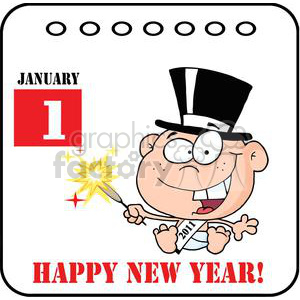 3735-New-Year-Baby-Cartoon-Callendar clipart. Royalty-free image # 381298
