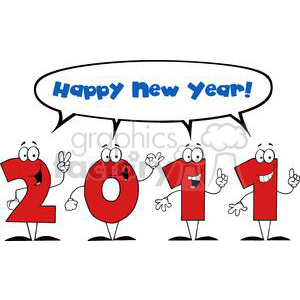 cartoon funny new years eve vector illustration 2011