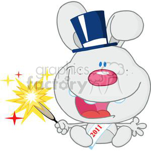 New-Gray-Year-Baby-Rabbit clipart. Royalty-free image # 381308