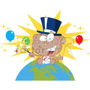 3828-New-Year-Baby-With-Fireworks-And-Balloons-Above-The-Globe clipart. Commercial use image # 381313