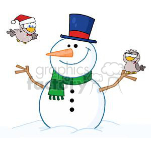 Friendly-Snowman-With-A-Cute-Birds clipart. Royalty-free image # 381318
