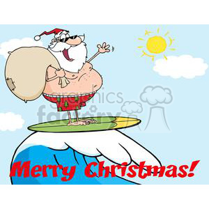 3762-Santa-Claus-Carrying-His-Sack-While-Surfing clipart. Royalty-free image # 381328