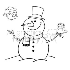 Outlined-Friendly-Snowman-With-A-Cute-Birds clipart. Commercial use image # 381333