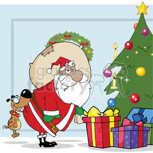 3865-Dog-Biting-A-Santa-Claus-Under-A-Christmas-Tree clipart. Commercial use image # 381348