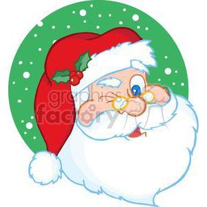 cartoon funny Christmas Xmas Holidays vector illustrations Santa+Claus santa wink magic