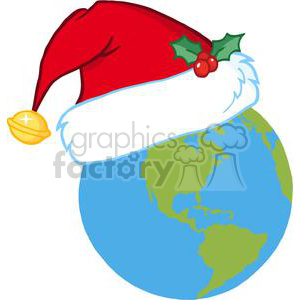 Santa-Hat-On-A-Earth clipart. Commercial use image # 381363