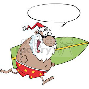 African-American-Santa-Running-With-A-Surfboard-With-Speech-Bubble clipart. Royalty-free image # 381368