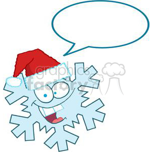 3781-Cartoon-Snowflake-With-Speech-Bubble clipart. Royalty-free image # 381398