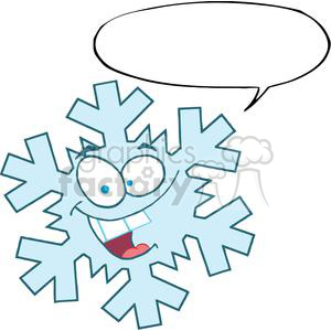 Cartoon-Snowflake-With-Speech-Bubble clipart. Royalty-free image # 381403