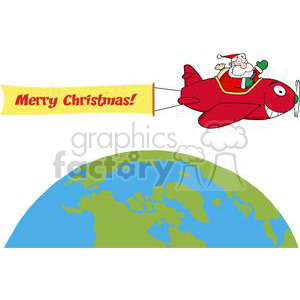 3824-Santa-Flying-With-Christmas-Plane-AndA-Blank-Banner-Attached-Above-The-Globe
