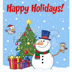 3703-Friendly-Snowman-With-A-Cute-Birds clipart. Royalty-free image # 381413