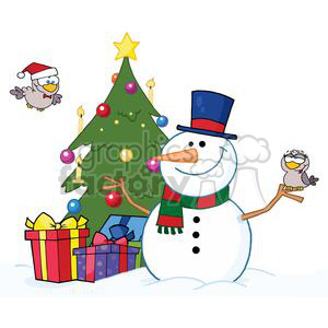 3701-Friendly-Snowman-With-A-Cute-Birds